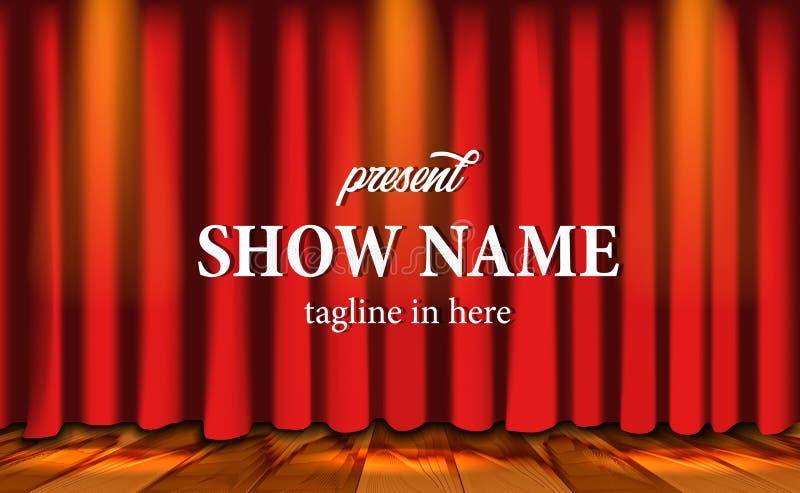 Realistische rote Vorhangbühnenshow am Theater mit Holzfußboden und Blitz stock abbildung