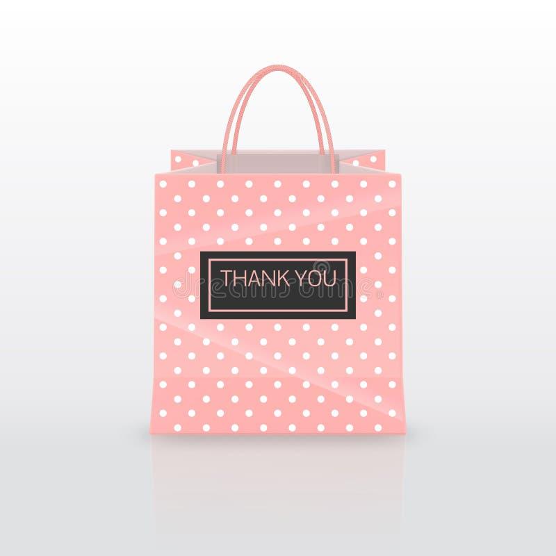 Realistische roze die Document het winkelen zak met handvatten op witte achtergrond worden geïsoleerd Vector illustratie stock illustratie
