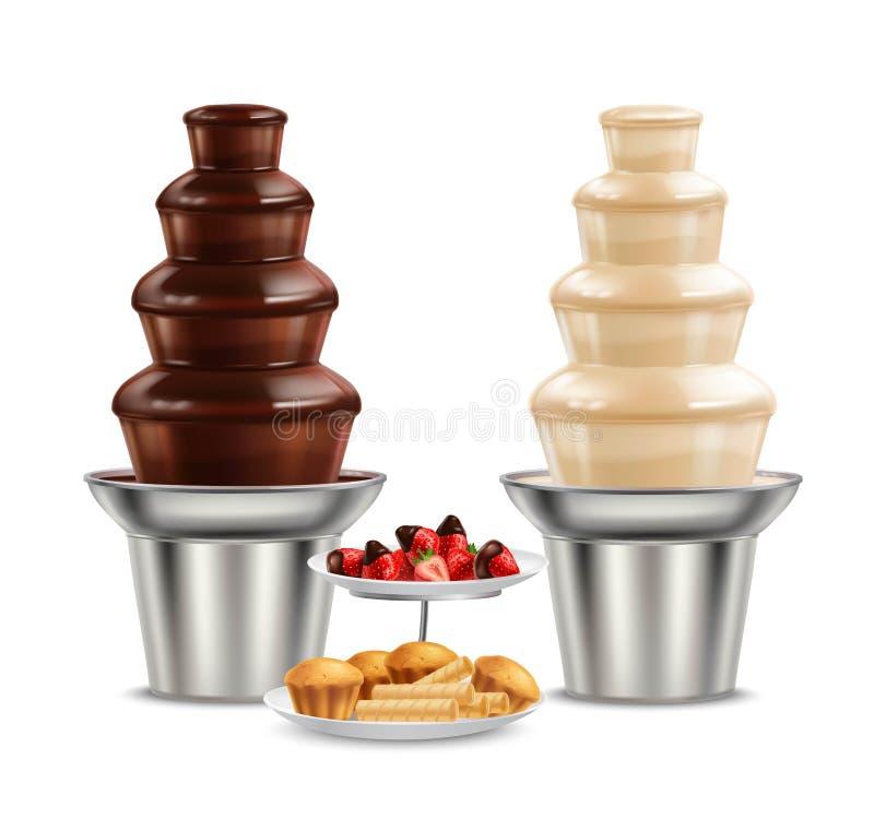 Realistische Samenstelling van de chocolade de Zwarte Witte Fontein vector illustratie