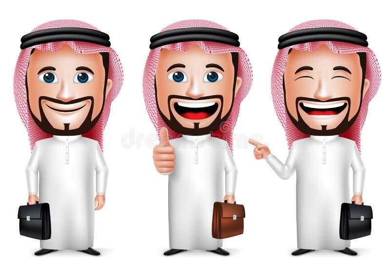 realistische saudi-arabische Zeichentrickfilm-Figur des Mann-3D mit unterschiedlicher Haltung lizenzfreie abbildung