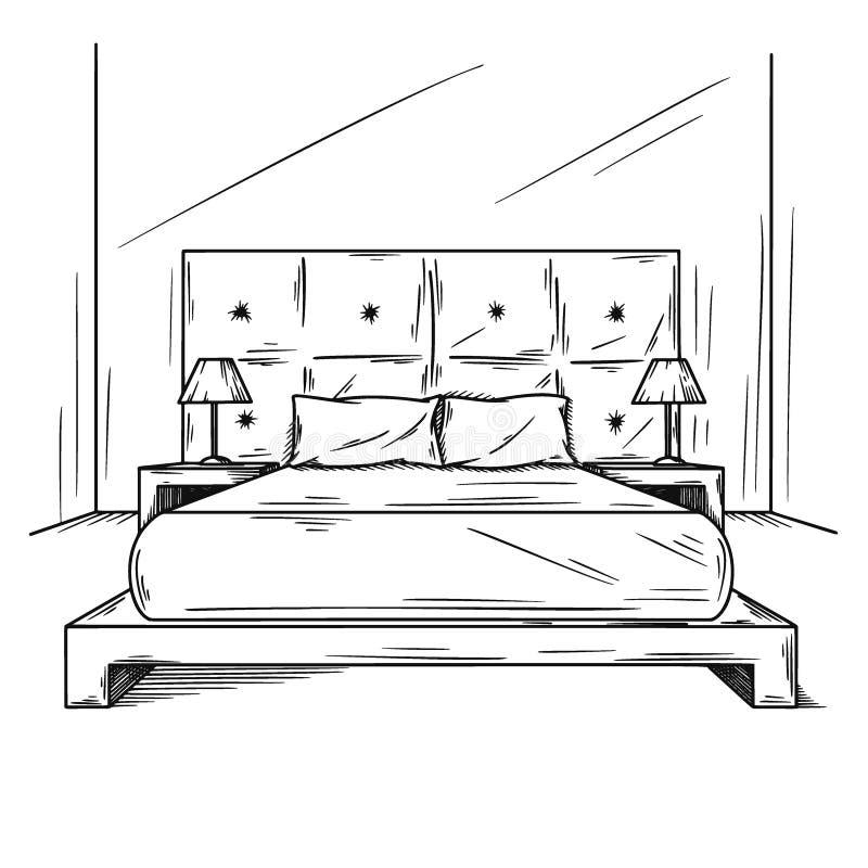 Realistische schets van de slaapkamer Hand getrokken schets van binnenland Vector stock illustratie