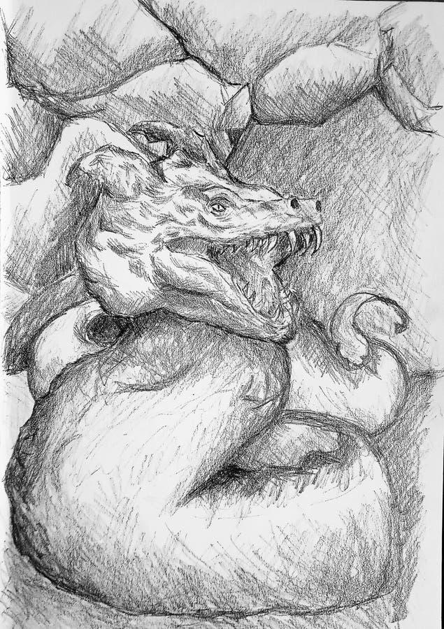Realistische schets van een babybasilisk in een hol Fantasiestijl royalty-vrije illustratie