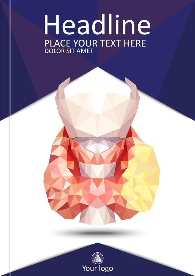 Realistische schildklier in lage poly Menselijke 3d schildklier, klier, La royalty-vrije illustratie