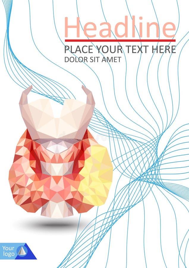 Realistische schildklier in lage poly Menselijke 3d schildklier, klier, La stock illustratie