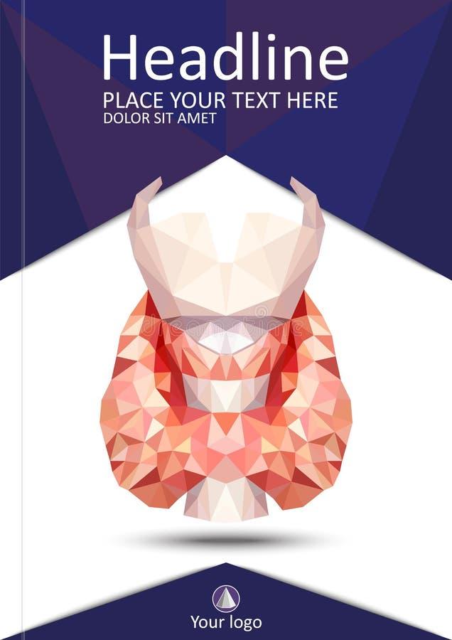 Realistische schildklier in lage poly Menselijke 3d schildklier, klier, La vector illustratie