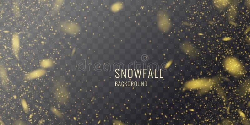 Realistische Schneefälle des Vektors gegen einen dunklen Hintergrund Transparente Elemente für Winterkarten stock abbildung