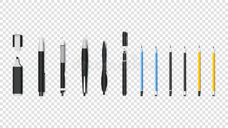 Realistische Schrijfgerei Geïsoleerde Vectorvoorwerpen Pen, Potlood, Teller en Textliner stock illustratie