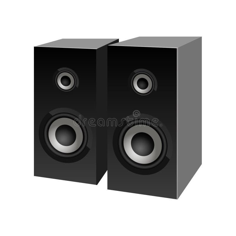 Realistische schwarze Lautsprecherperspektivenansicht Vektor Sprecherzeichen lizenzfreie abbildung