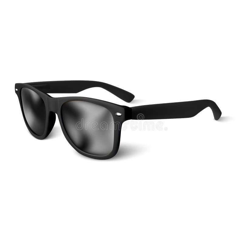 Realistische schwarze Sonnenbrillen lokalisiert auf weißem Hintergrund Auch im corel abgehobenen Betrag lizenzfreie abbildung