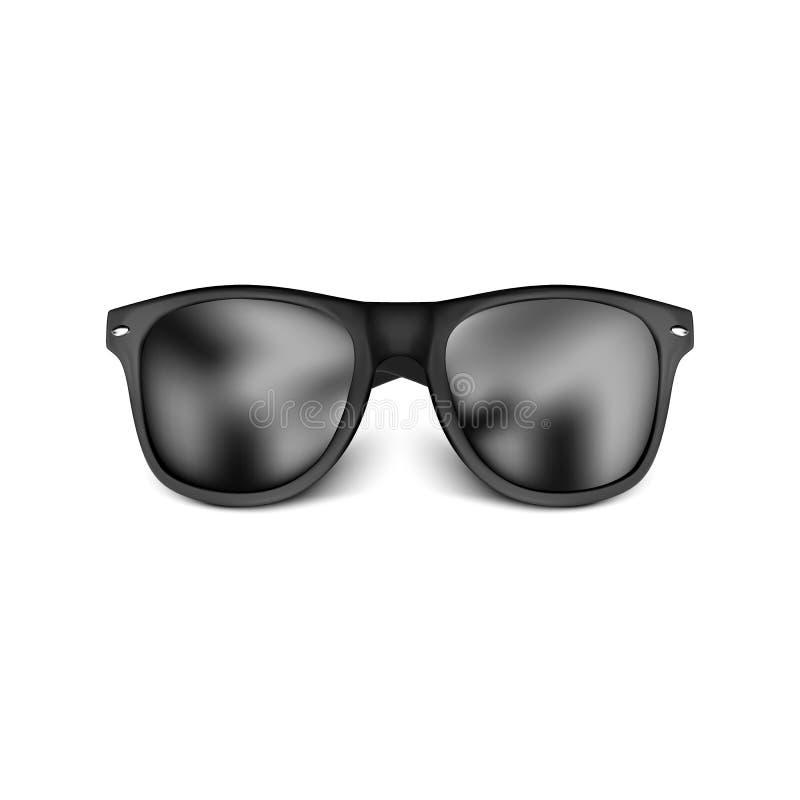Realistische schwarze Sonnenbrillen lokalisiert auf wei?em Hintergrund Auch im corel abgehobenen Betrag vektor abbildung