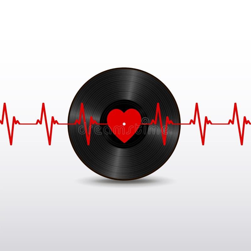 Realistische schwarze Vinylaufzeichnung mit rotem Herzaufkleber und Kardiogramm lokalisiert auf weißem Hintergrund lizenzfreie abbildung