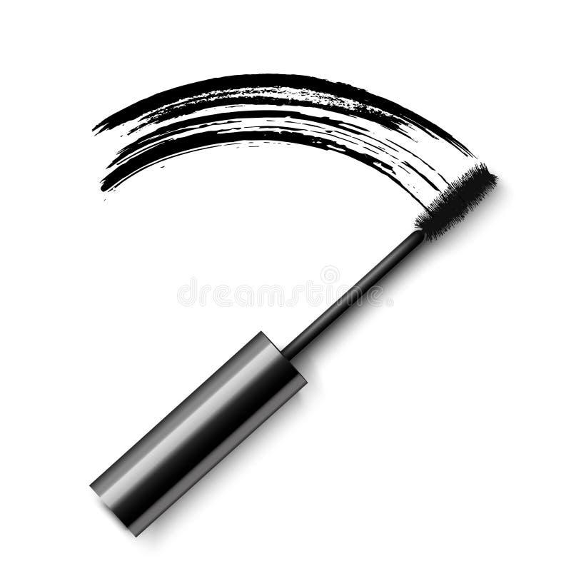 Realistische schwarze Wimperntusche des Vektors mit der Abstrichspur lokalisiert auf weißem Hintergrund stock abbildung