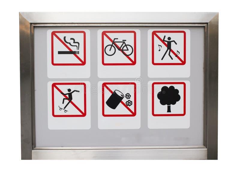 Realistische sechs safty Vorsicht verbieten unterzeichnen herein den Aluminiumrahmen lizenzfreie stockfotografie