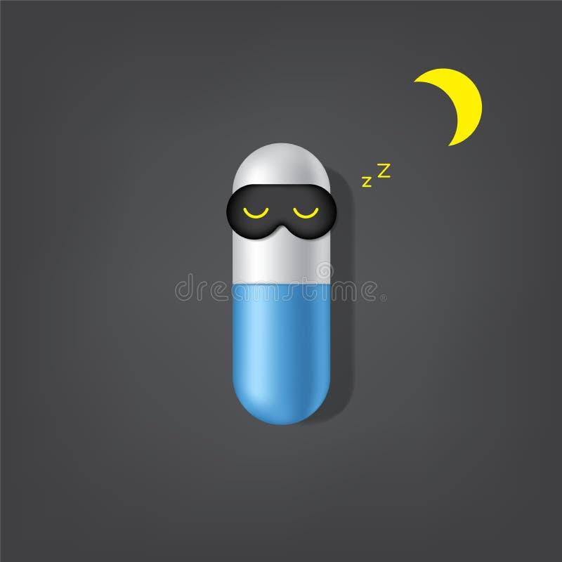 Realistische Slapeloze Reclame, Slapeloosheidscapsule of van de Achtergrond pillengeneeskunde Illustratie royalty-vrije illustratie