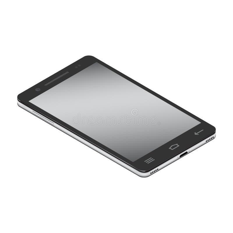 Realistische smartphone cellulair in linkerkant isometry op een witte achtergrond royalty-vrije illustratie