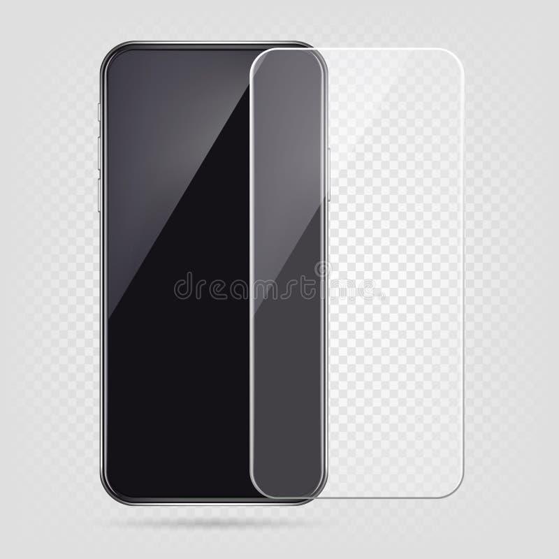 Realistische smartphone, de film van de het schermbeschermer, transparante het glasdekking van de celtelefoon Plastic bescherming stock illustratie