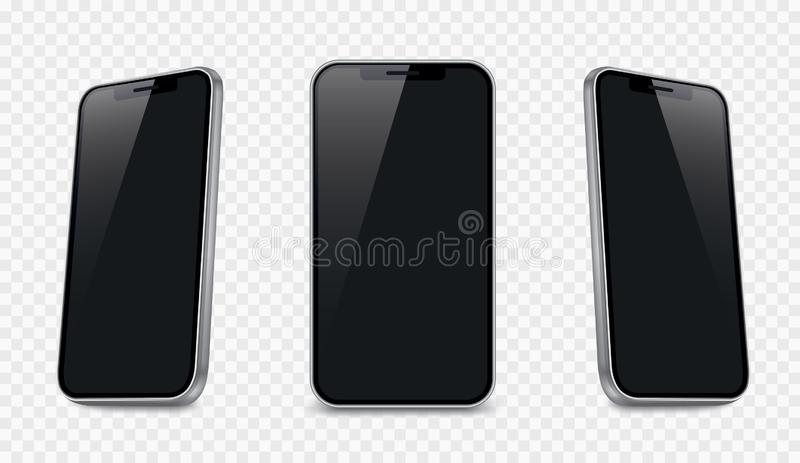 Realistische smartphone mockup 3D vectorblanco mobiel apparaat - voorraadvector royalty-vrije illustratie