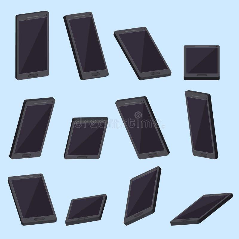 Realistische smartphonereeks Vector royalty-vrije illustratie
