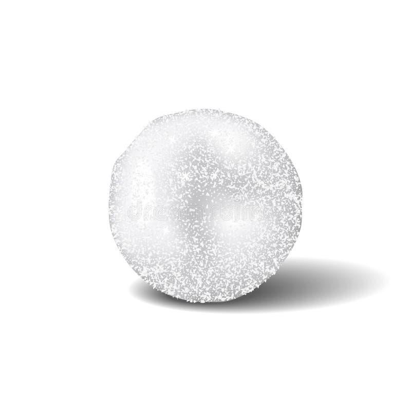 Realistische sneeuwbal geïsoleerd met schaduw op witte achtergrond royalty-vrije illustratie