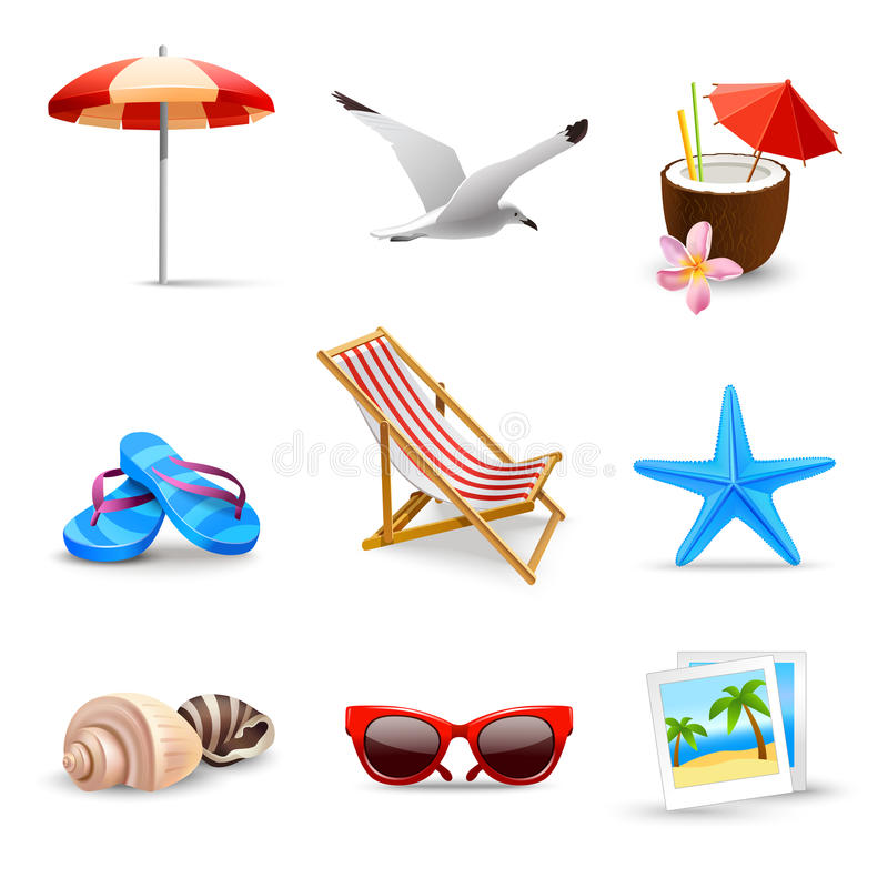 Realistische Sommer-Ferien-Ikonen vektor abbildung