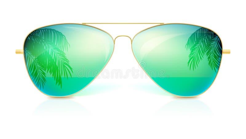 Realistische Sonnenbrille, klassischer Rahmen der Form in fine Goldlokalisiert auf weißem Hintergrund Ikone der Sonnenbrille mit  stock abbildung
