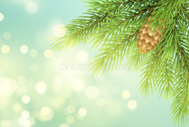 Realistische sparrentak met pineconeillustratie stock illustratie