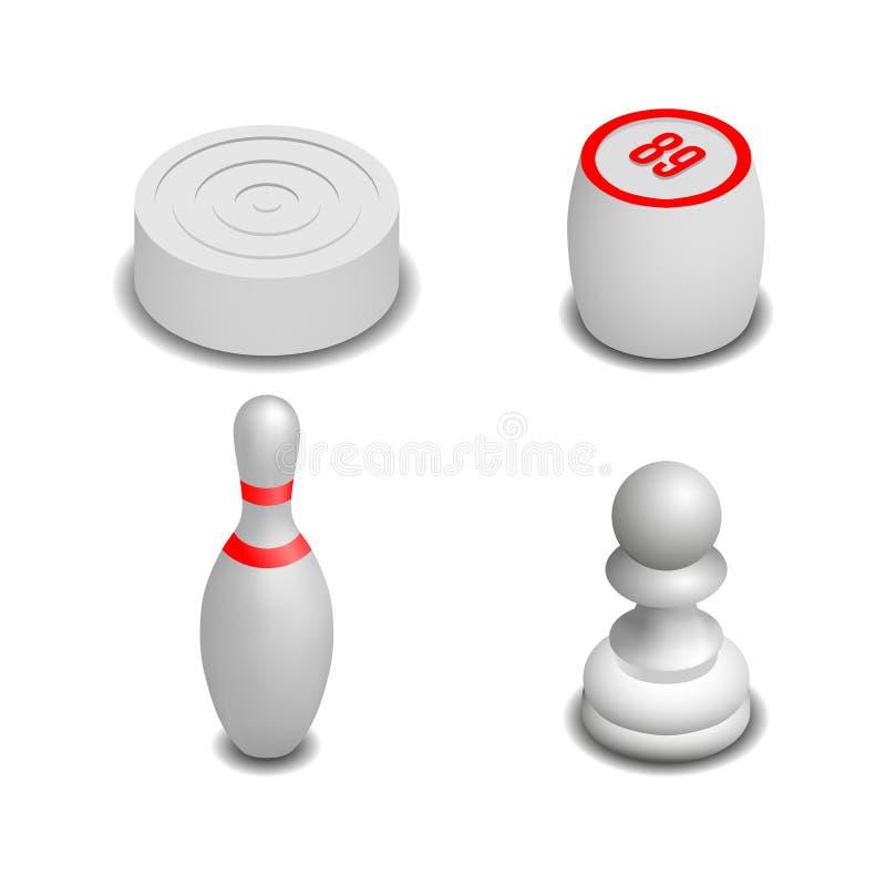 Realistische spelpictogrammen in isometrische stijl, vectorillustratie vector illustratie