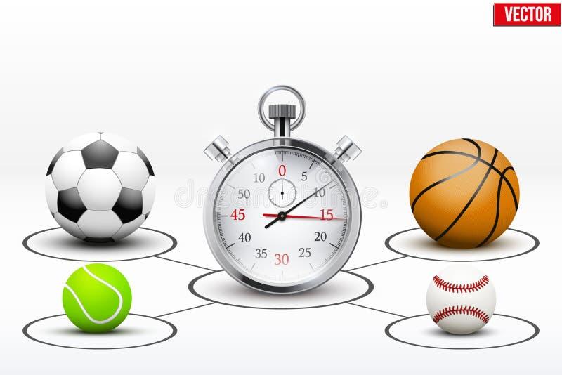 Realistische Sportbälle und -stoppuhr mit Markierungen vektor abbildung