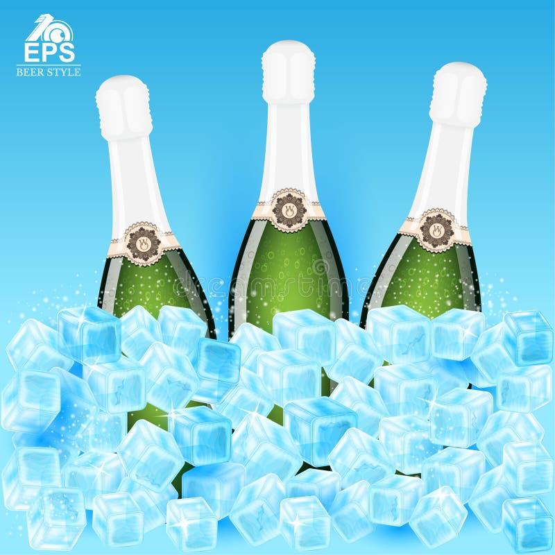 Realistische spot drie op fles champagne onder ijsblokjes op blauw stock illustratie
