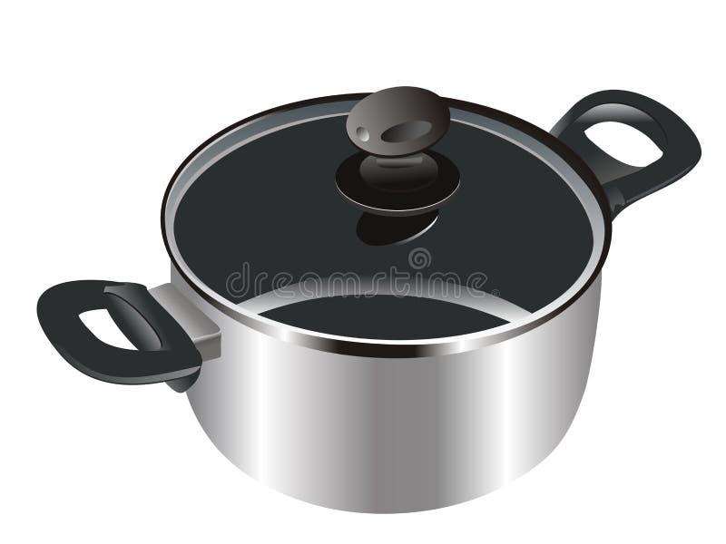 Realistische steelpan cookware Vector vector illustratie