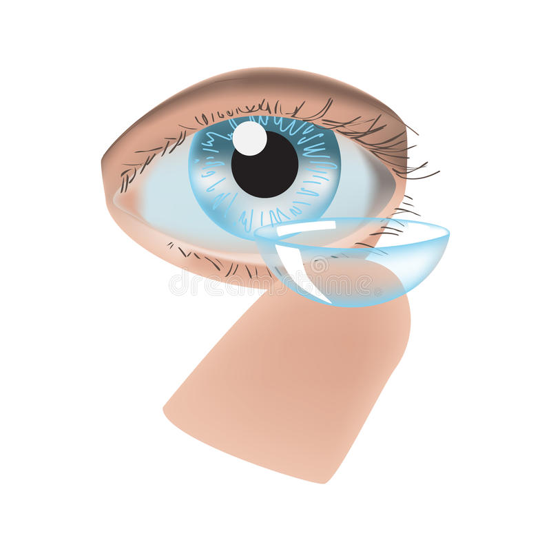 Realistische stijl vectorillustratie met oog en contactlens stock illustratie