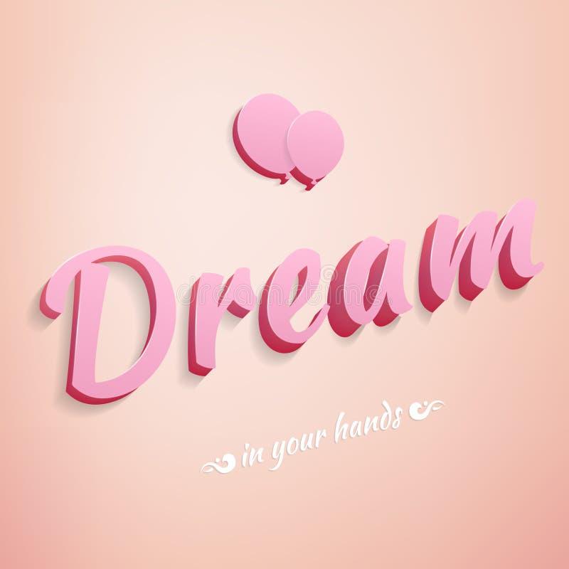 Realistische teken roze droom met impulsen vector illustratie