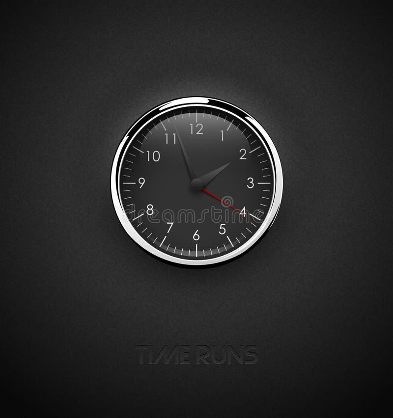 Realistische tiefe schwarze runde Uhr herausgeschnitten auf strukturiertem dunklem Plastikhintergrund Chrome-Edelstahlrahmenring  vektor abbildung