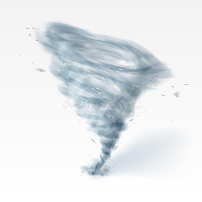 Realistische tornadowerveling die op witte achtergrond wordt geïsoleerd stock illustratie