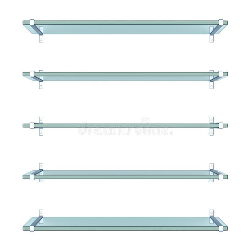Realistische transparante glasplanken stock illustratie