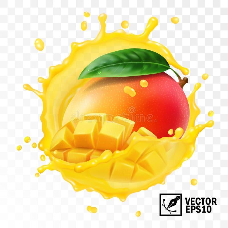 realistische transparente lokalisierte Mangofrucht des Vektors 3d, des Ganzen und der Stücke mit Blatt in einem Spritzen des Saf lizenzfreie abbildung