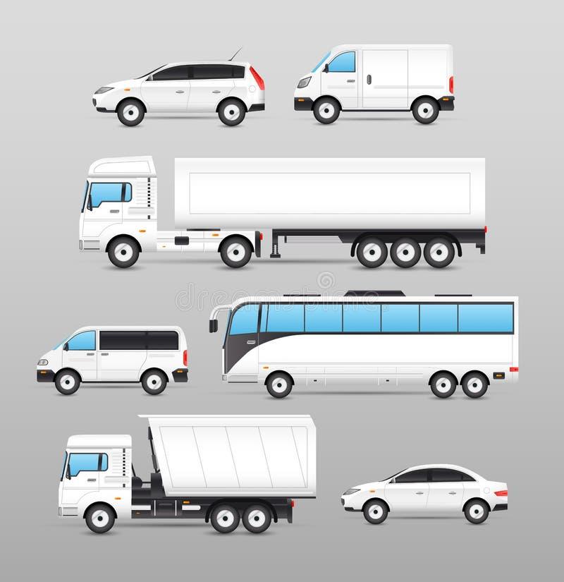 Realistische Transport-Ikonen eingestellt vektor abbildung