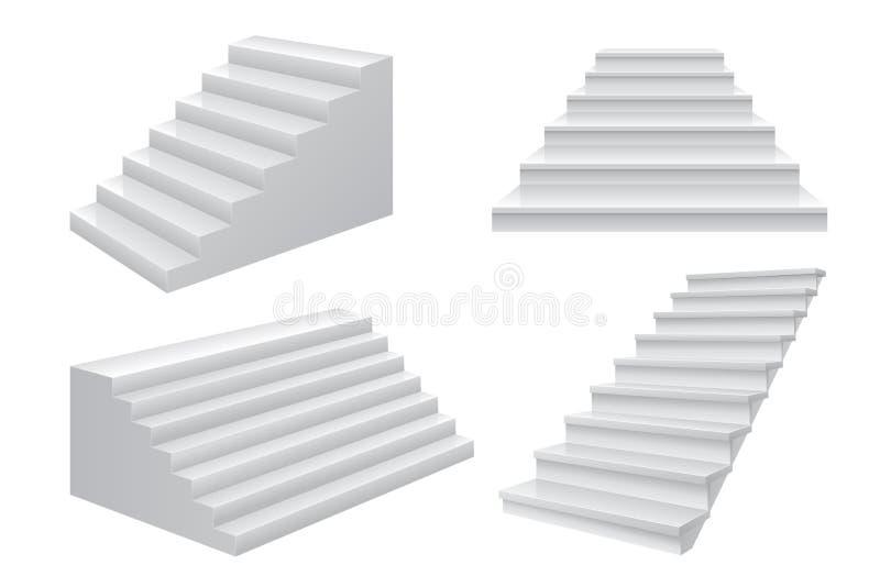 Realistische Treppe 3D Geschäftskarriereleiter zum Vorderansichtkonzept des Erfolgstreppenhauses Moderne Geschäftsvektorschablone stock abbildung