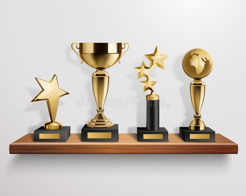 Realistische Trofeetoekenning op Plank stock illustratie