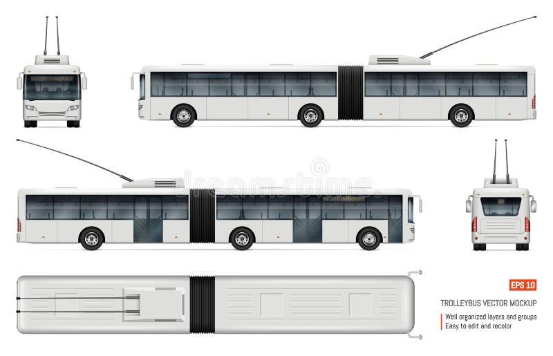 Realistische trolleybus vectorillustratie stock illustratie