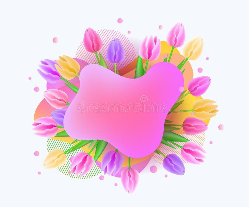 Realistische Tulpenblumenfahne mit Leerstelle für Text lizenzfreie abbildung
