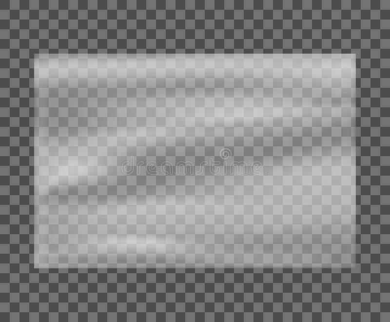 Realistische uitgerekte witte plastic afwijking Polyethyleen plastic textuur Transparant cellofaanmodel – voor voorraad royalty-vrije illustratie