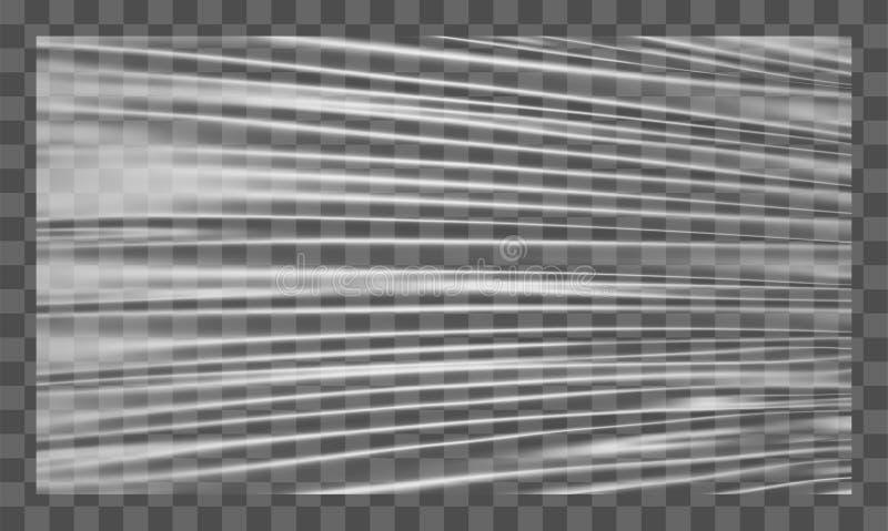 Realistische uitgerekte witte plastic afwijking Polyethyleenachtergrond Vector transparant cellofaanmodel stock illustratie