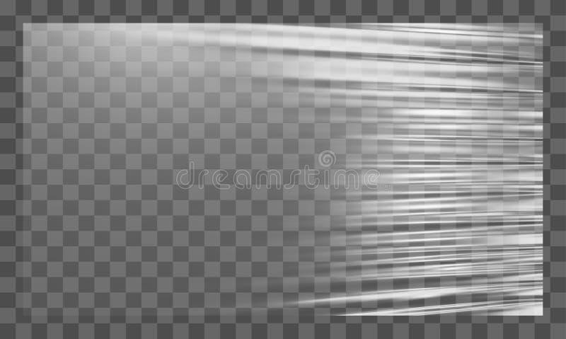 Realistische uitgerekte witte plastic afwijking Polyethyleenachtergrond Vector transparant cellofaanmodel royalty-vrije illustratie