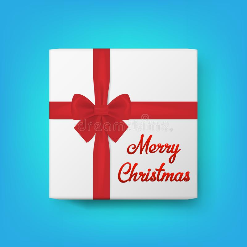 Realistische van de giftvakje en tekst Vrolijke Kerstmis Vector illustratie stock illustratie
