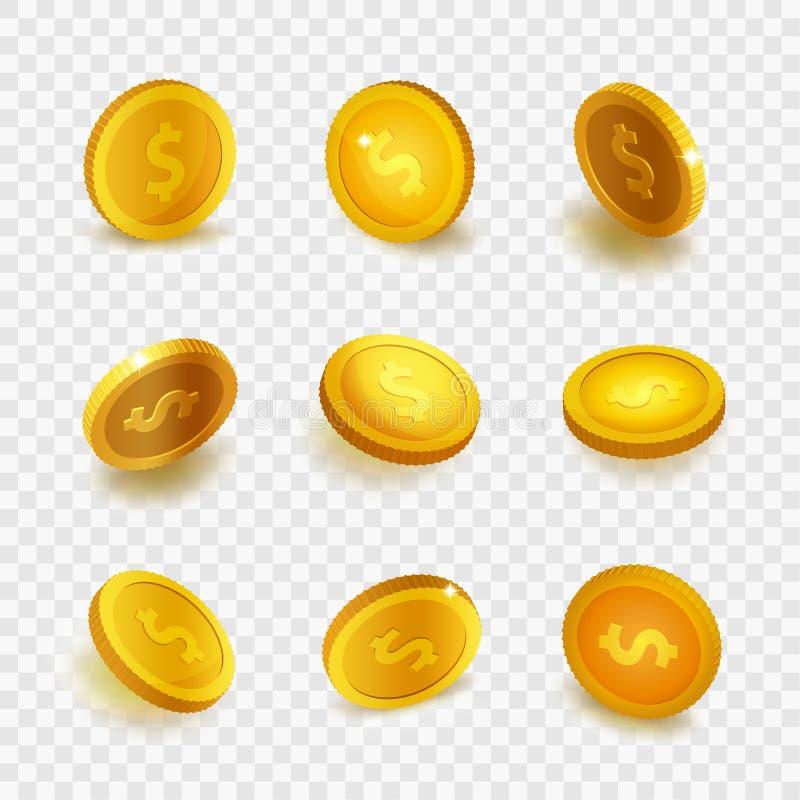 Realistische vastgestelde gouden die muntstukken van de voorraad de vectorillustratie op transparante geruite achtergrond worden  royalty-vrije illustratie
