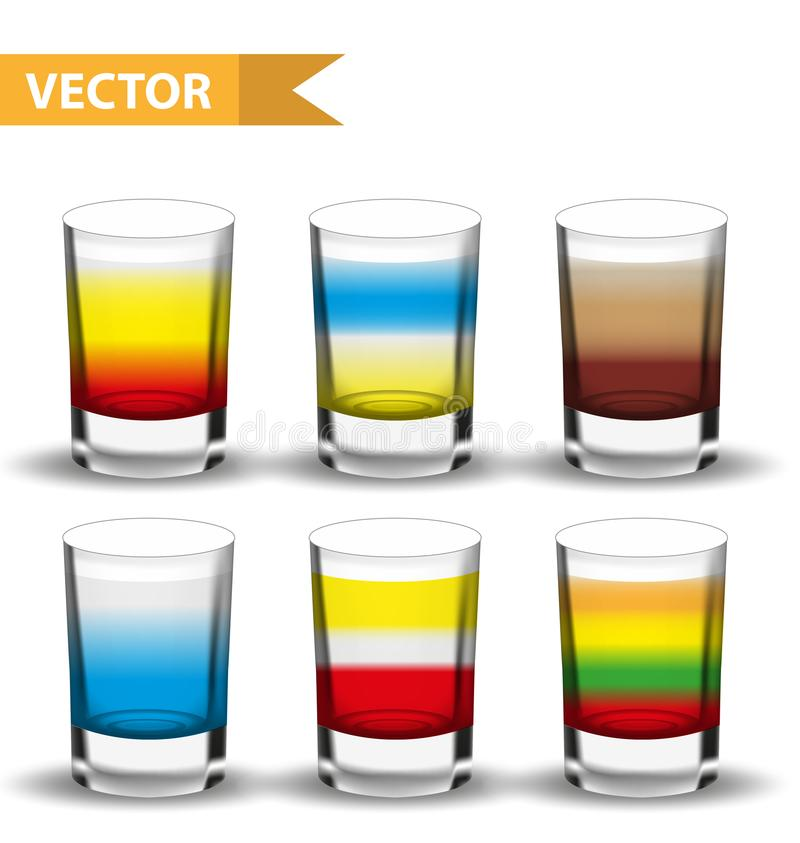 Realistische vastgestelde schotencocktails 3d Schot met dranken voor bars, restaurans inzameling De likeur van de glaskop Geïsole stock illustratie