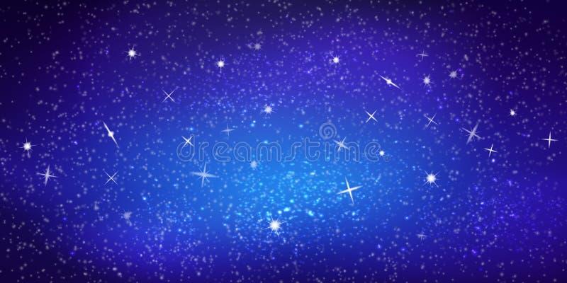 Realistische vector kleurrijke Illustratie Heldere kosmische ruimteachtergrond met sterren en constellaties Interstellaire ruimte royalty-vrije illustratie