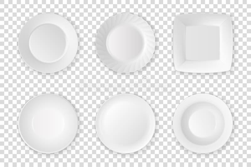 Realistische vector witte het pictogram vastgestelde close-up van de voedsel lege plaat op de achtergrond van het transparantiene vector illustratie