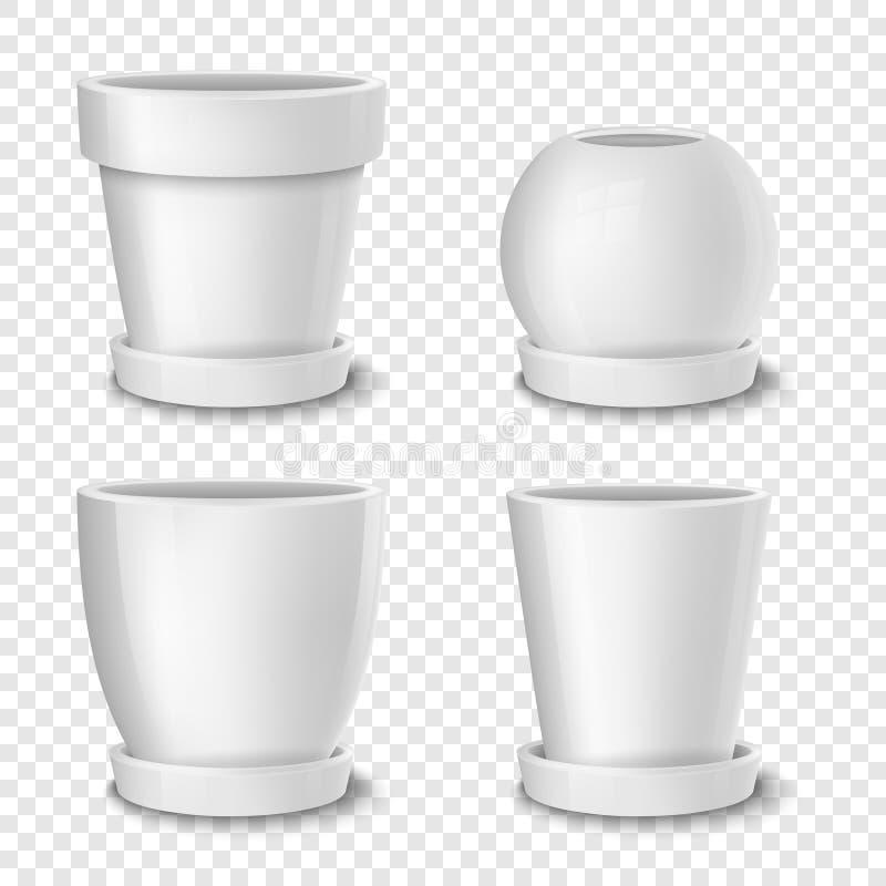 Realistische vector witte lege bloempot met plaatreeks Close-up op transparante achtergrond Ontwerpmalplaatje voor vector illustratie